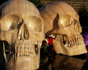 SKULL woodgrain  Life size ornament rockabilly tiki hotrod metal biker pinup