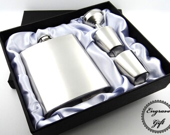 Personalised Custom Handwriting, Text Font Engrave 7oz Hip Flask Gift Box Set, to your Own Design / Your own Handwritting