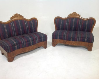 Antique victorian armless loveseats