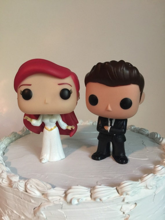 ariel and groom funko pop wedding cake topper by everafterproducts. Black Bedroom Furniture Sets. Home Design Ideas