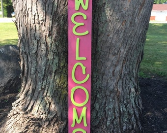 Welcome sign on reclaimed barn wood.