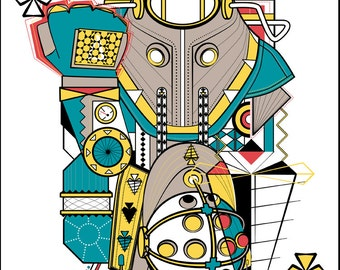 Big Daddy/Delta Bioshock Inspired Playing Card Print