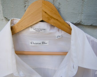 Christian Dior Men's White Pinstripe Button Down - Size  17.5/32-33