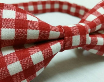 Men's Bowtie in Red and White Pladde