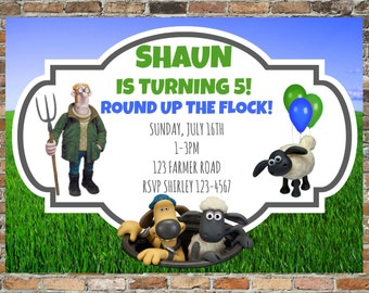 Shaun the Sheep Invitations and Thank You Cards - Personalized Printable - Shaun the Sheep Birthday Party - Timmy Time Birthday Party