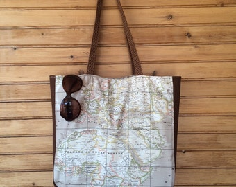 Brown World Map Printed Fabric,Canvas Tote Bag, Hand Bag, Purse, World Map