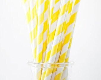 Paper Straws - set of 24.  Yellow and white stripes.  Striped paper straws.  Party straws.  Patterned straws.  Yellow straws.  White straws.