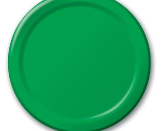 Emerald green paper plates. Set of 24.  Green paper dessert plate.  Green Party plates.  Birthday plates. Green party decor. Green tableware