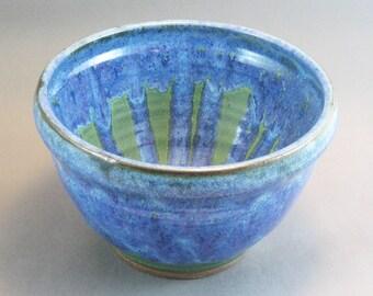 Pottery Bowl Rutile Blue - Green To Black