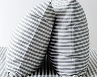 Gray & White Striped Pillow