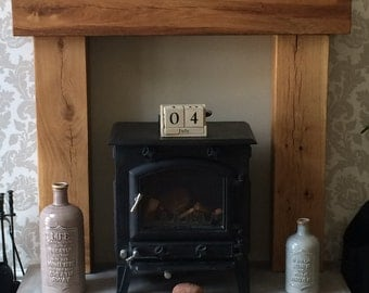 Fire Place Solid French Oak Beam Surround, Mantle Shelf, Rustic, Country, Cottage,Wood, Inglenook