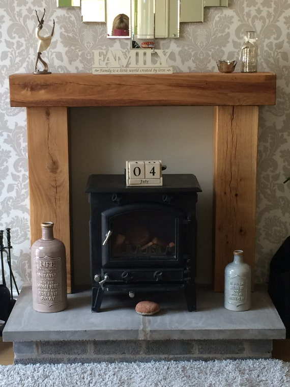 Fire Place Solid French Oak Beam Surround Mantle Shelf