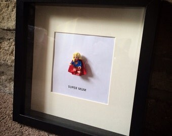 Lego mini figure SUPER WOMAN / MUM personalised gift frame Mother's Day gift