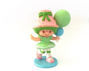 Lime Chiffon with her Balloons | Strawberry Shortcake Plastic Figurine | Vintage 1980s PVC Strawberryland Miniatures | Original Card |