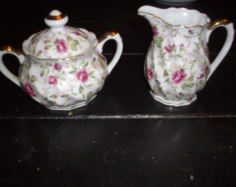 "Lefton ""Chintz"" sugar and creamer"