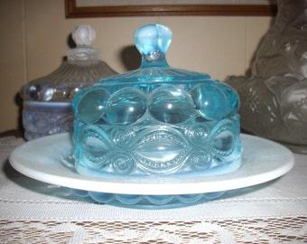 2 Mosser Blue Opalescent Winker Pattern Dishes