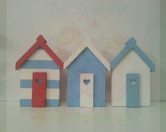 Adorable row of beach huts nautical ornament