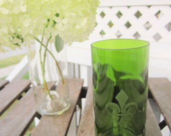 Upcycled Emerald Green Drinking Glass