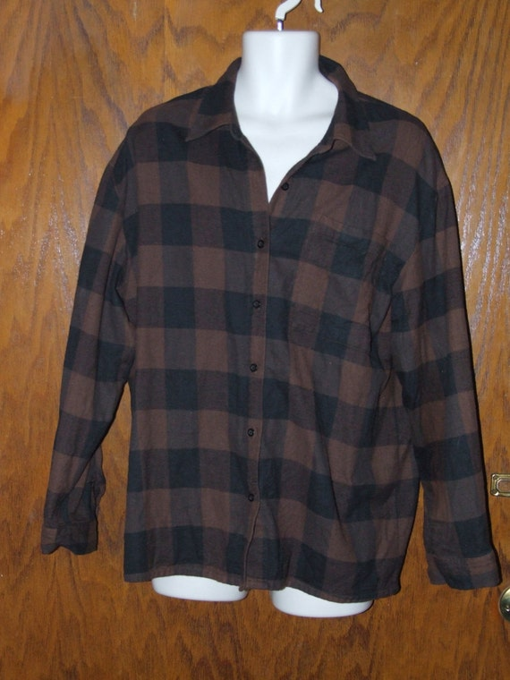 90 39 s grunge hipster chocolate brown and black plaid 100 for Brown and black plaid shirt