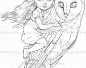 Owl Rider. INSTANT DOWNLOAD Digital Digi Stamps