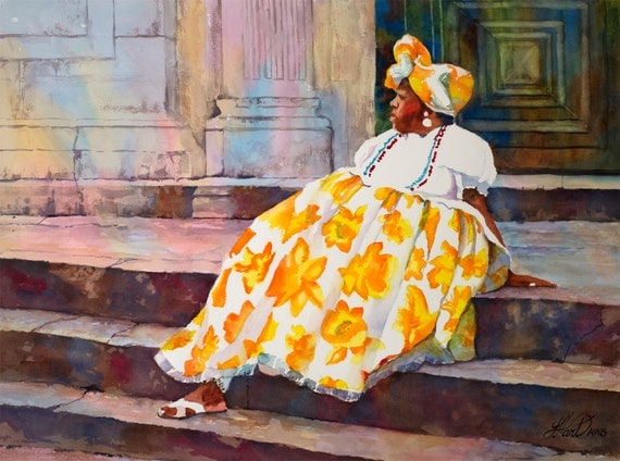 Black Art Woman In Yellow Dress Watercolor By Laurelhartwork