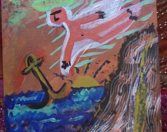 "FolkArtOriginals,""Beach Angel"",Original Acrylic Painting,Angel,Ocean,Sea,anchor, painting, original, folk art, Painting of Angel, Anchor"