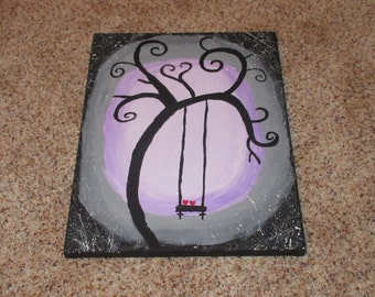 Purple and Black Tree Silhouette