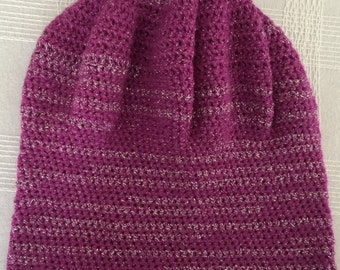 Pink with silver thread stripes glam crocheted slouchy hat