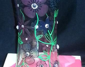 Custom Painted Flower Vase Embellished with Crystals