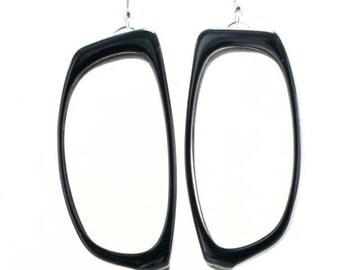Black with White Stripe 1980s Eyeglasses Frames Earrings
