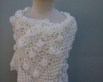 Wedding Shawl,Bridal Shawl, Bridal bolero, Wedding bolero, Shawl,Shrug, Crochet Shawl, Winter Wedding cover ups, ivory Shawi,Shoulder Shawl,