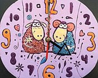 "ceramic wall clock ""Sheep on the swing"""