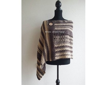 Xyra PATR0990-crochet pattern-poncho-asymmetrical or in a point to wear with a straight back (Dutch & English US)