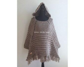 PATR0969 - Xyra Crochet-pattern - Poncho with hood (English-US & Dutch)