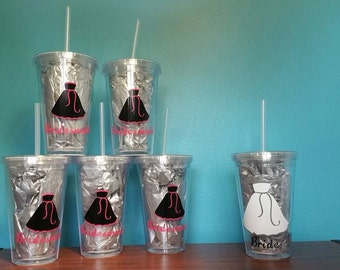 6pc Wedding Party Bridesmaid Gifts Tumbler Gift Set Personalized 5 Bridesmaids 1 Bride