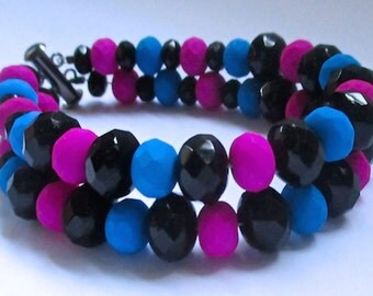 Black, Neon Blue And Neon Pink Double Strand Bracelet