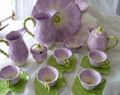 20 piece partial set of purple green leaf dinner fall autumn tea dishes