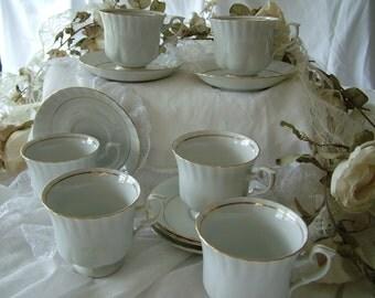 Chodziez Polish China cups and saucer white gold