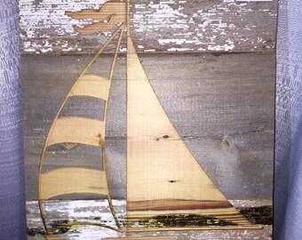 Sailboat Reclaimed Wood Wall Art