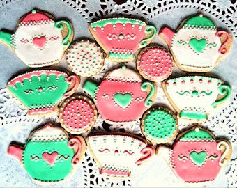 Tea Party Cookies - Tea Pot Cookies - Tea Cup Party Favors