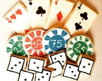 Poker Cookies - Vegas Cookies - Casino Night - Gambling Party Favors - Black Jack