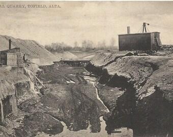 Vintage Postcard 1910's, a Coal Quarry, Tofield, ALberta, Canada