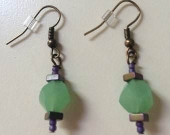 Teal Stone Drop Earrings