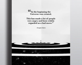 Douglas Adams Quote Poster | The Hitchhiker's Guide to the Galaxy | Typographical Poster