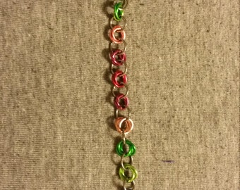 Rainbow Rose Maille Bracelet