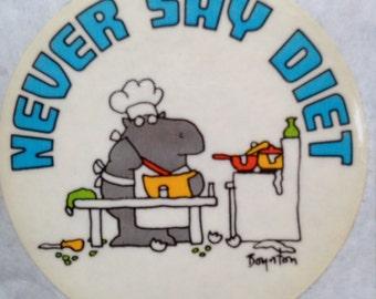 Never Say Diet cooking hippo sticker by Sandra Boynton