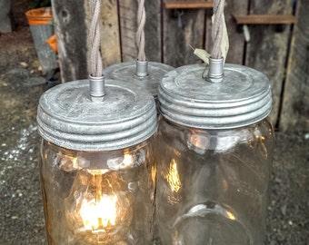 mason jar light cluster of 3