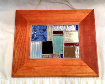 Glass Mosaic Wall Hanging: Squares on a Mirror