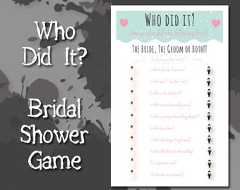 Bridal Shower Game, Who Did It, Instant Download, Printable PDF, mint hearts