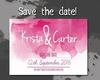 Wedding Save The Date, Printable PDF, Getting Married, Watercolor